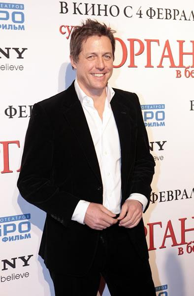 Hugh Grant arrives at the Moscow premiere of his movie 'Did You Hear About the Morgans?' costarring Sarah Jessica Parker