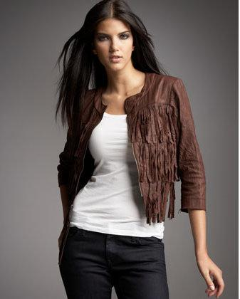 Illia fringed leather jacket