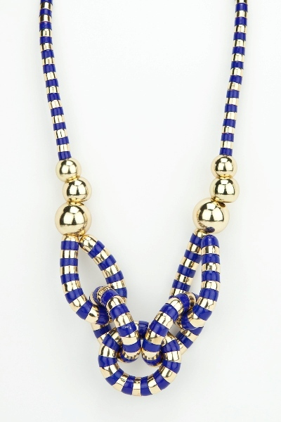 Blue stripe link necklace