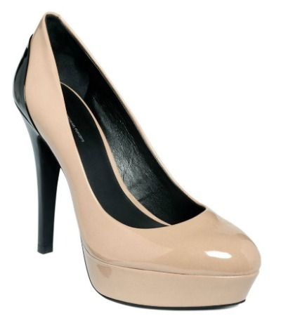 Nude and black patent pumps