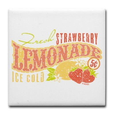 Strawberry lemonade tile coaster
