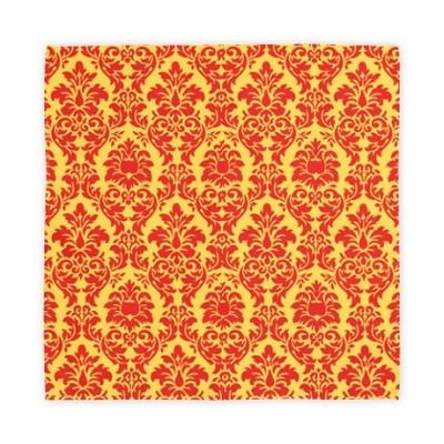 Lemon zest and poppy red damask cloth napkins