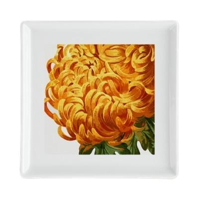 Orange chrysanthemum square cocktail plate