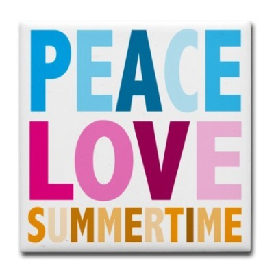 Peace love summertime tile coaster