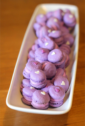 Itty bitty purple macarons