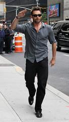 Hugh Jackman salutes the Late Night crowd