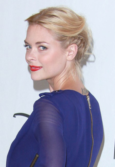 Jaime King's French braided updo hairstyle