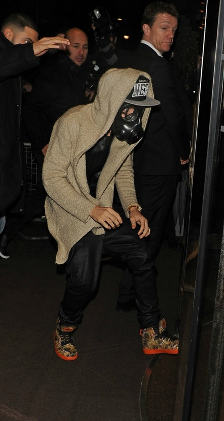 Justin in a gas mask