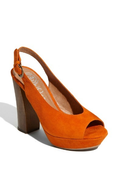 Bright Suede Slingback Peep-Toe Wedge