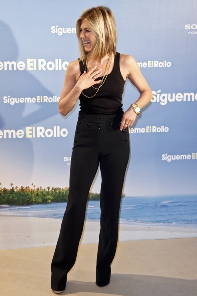 Jennifer Aniston in high-waisted pants