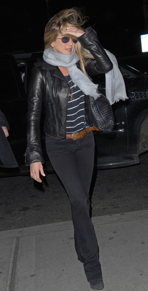 Jennifer Aniston in a leather bomber jacket