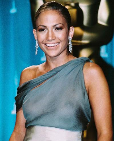 Jennifer Lopez in one-shoulder gown.