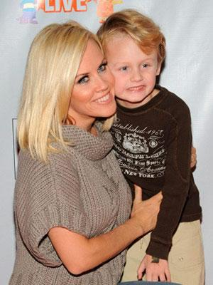 Jenny McCarthy smiles with son