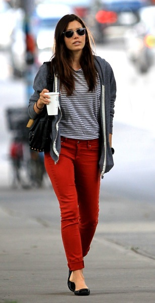 Jessica Biel in red pants