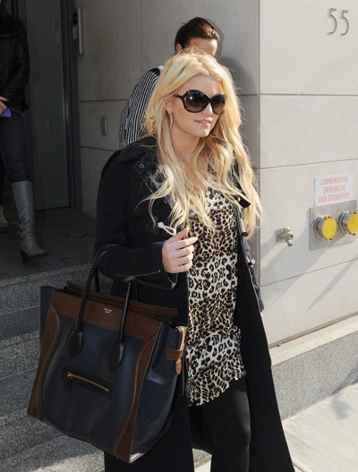 Jessica Simpson in animal print top