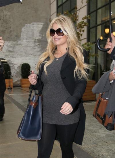 Jessica Simpson in grey sweater