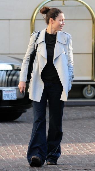 Jessica Biel in bell-bottoms