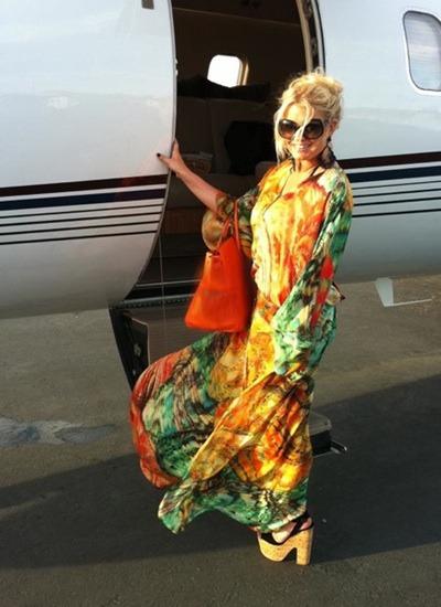 Jessica Simpson in colorful maxi dress