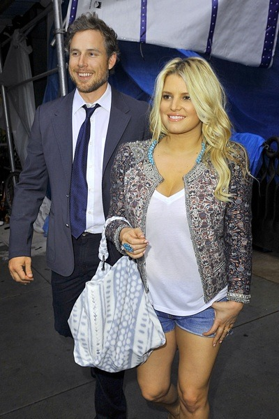 Jessica Simpson in embellished cropped jacket