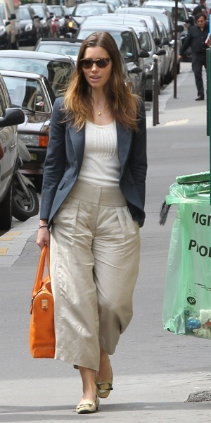Jessica Biel in high-waisted pants