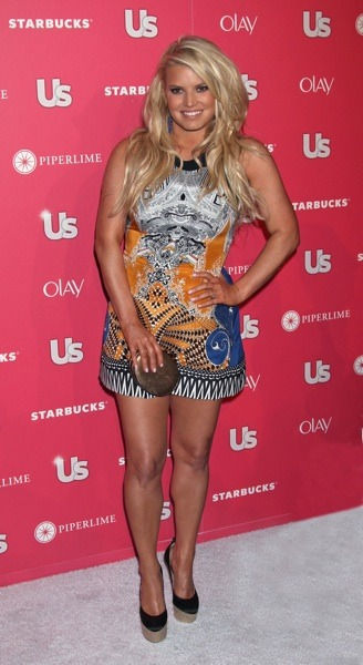 Jessica Simpson in exotic mini dress