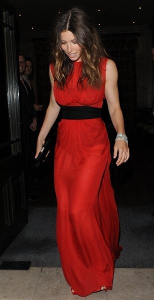 Jessica Biel in red