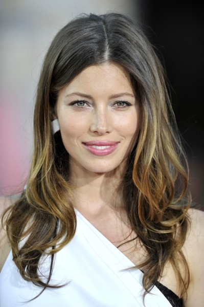 Jessica Biel with a middle part