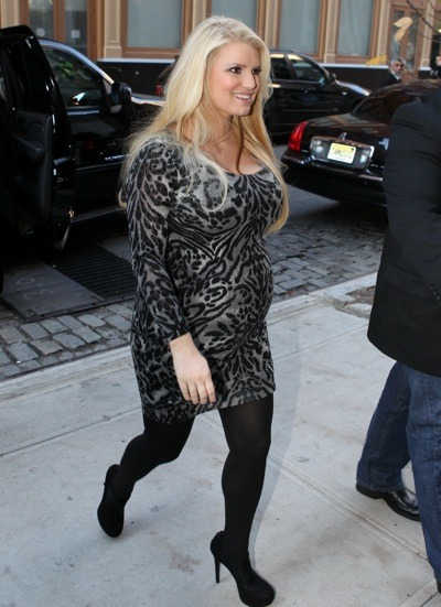 Jessica Simpson with suede platforms