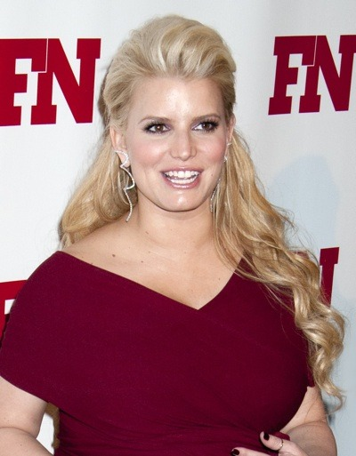 Jessica Simpson with diamond spiral earrings