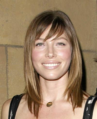 Jessica Biel's Simple Shoulder-Length Style with Bangs