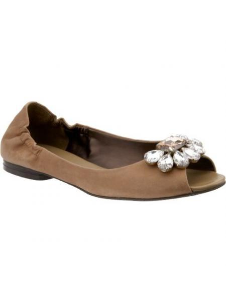 Jeweled Peep-toe Flat