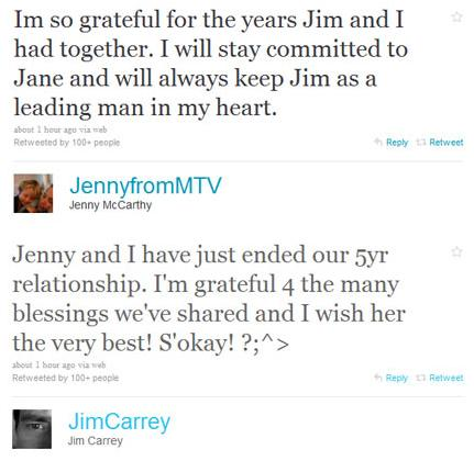 Jim Carrey and Jenny McCarthy Announce Break Up on Twitter