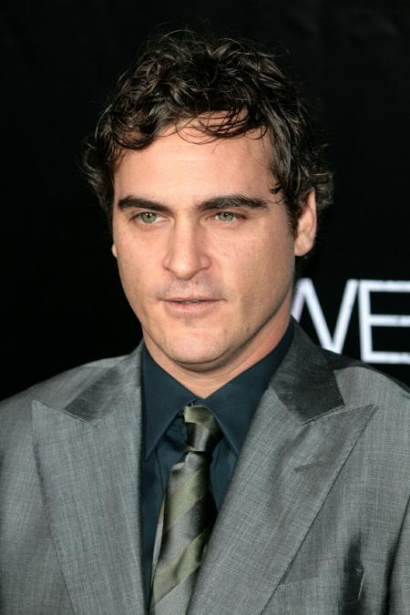 Joaquin Phoenix pictured wearing a grey suit