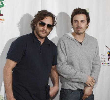 Joaquin Phoenix with his brother-in-law Casey Affleck in San Francisco