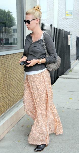 January Jones in a flowing skirt