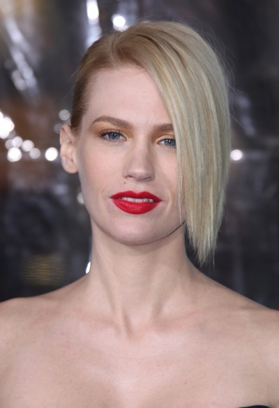 January Jones with an asymmetrical hairstyle