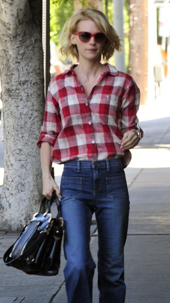 January Jones in plaid