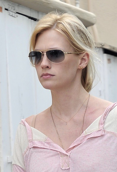 January Jones with pink lipgloss