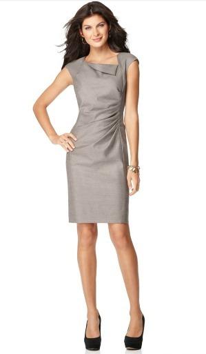 Cap sleeve side ruched sheath dress