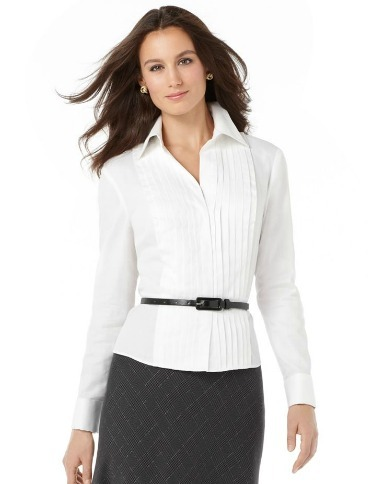 White pleated button-down shirt