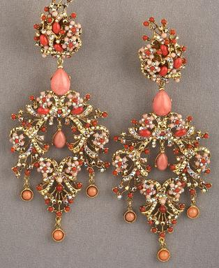 Jose & Maria Barrera Peach Chandelier Earrings