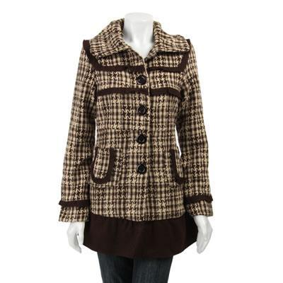 Jou Jou Lux Women's Plaid Pant Coat