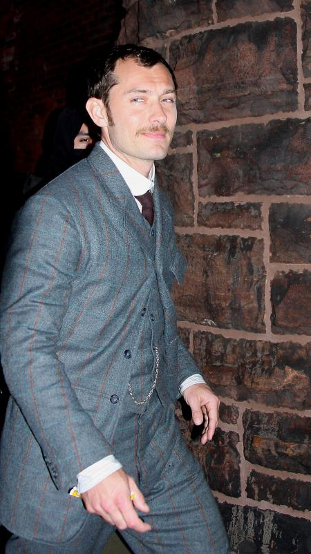 Jude Law seen here with a mustache in the Sherlock Holmes movie