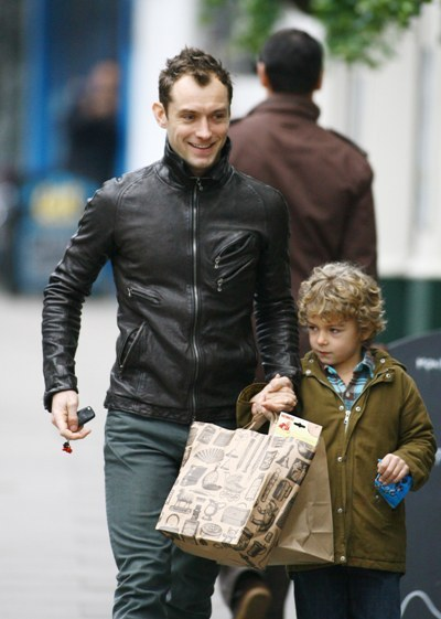 Jude Law and Son Rudy Walking through Primrose Hill