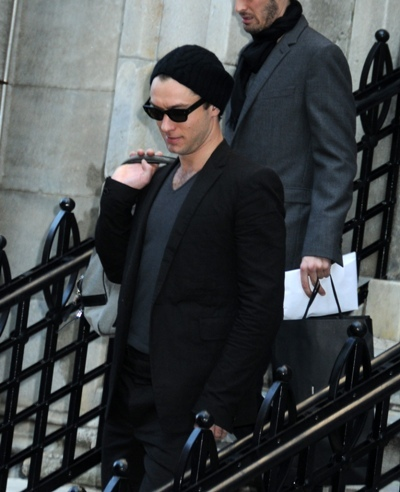 Jude Law leaving his downtown NYC apartment