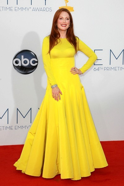 Julianne Moore is drenched in yellow