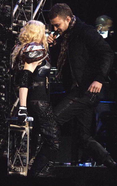 Justin Timberlake performs on Madonna's Sticky and Sweet Tour