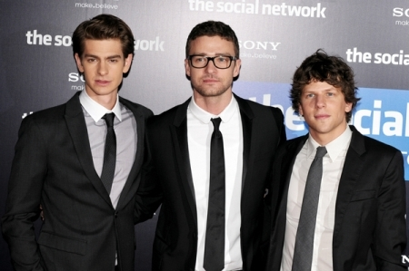 Justin Timberlake, Adrew Garfield and Jesse Eisenberg in Madrid