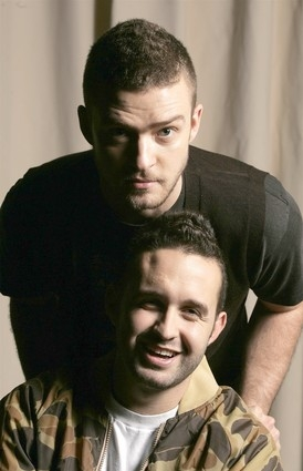 An artistic photo of Justin Timberlake and Trace Ayala