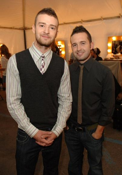 Justin Timberlake and Trace Ayala in the dressing room of a William Rast event
